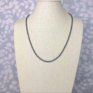 Vintage Trifari Black Silver Twister Rope Necklace